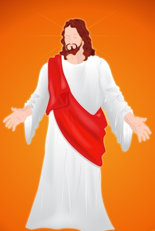 jesus on cross: Ges� Cristo Isolato su sfondo rosso Vettoriali