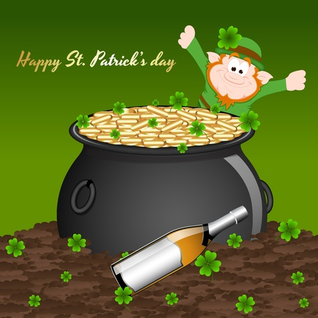 Pot of Gold with Beer Background Vector