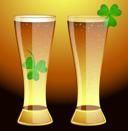 Glass of Beer with Shamrock Vector