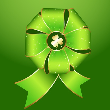 Green Ribbon Bow Set Stock Vector - 12859480
