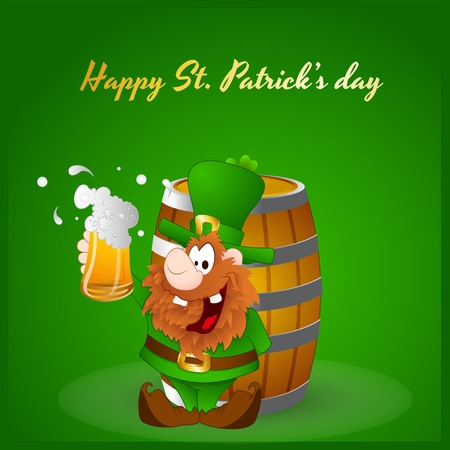Shamrock on Wine Barrel Vector