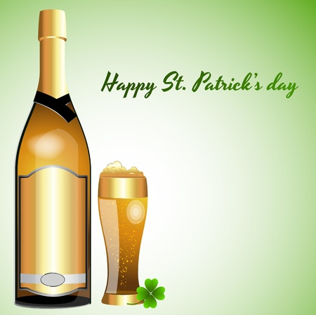 Beer Bottle with Glass of Beer Vector