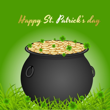 Pot of Gold Coins on Grass Stock Vector - 12860513