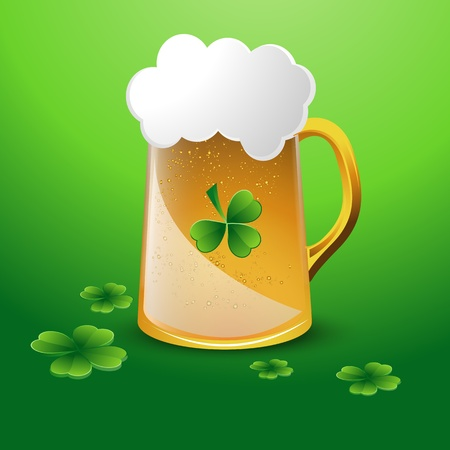 Glass of Beer with Clover Leaves Vector
