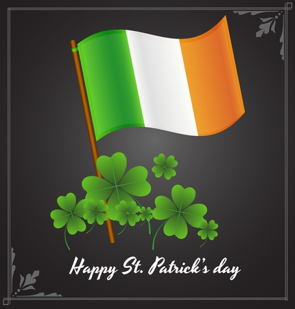 Irish Flag with Shamrock Background Vector