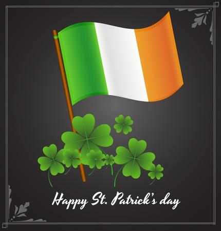 shamrock background: Irish Flag with Shamrock Background