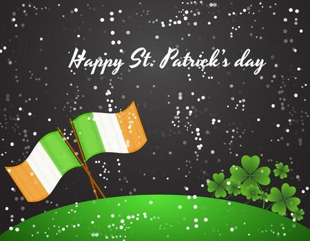 irish landscape: Irish Flag with Shamrock in Snowfall