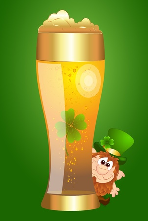 Cute Leprechaun Behind the Beer Glass Vector