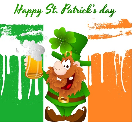 Happy Leprechaun with Beer Vector