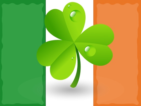 Shamrock on Irish Flag Background Vector