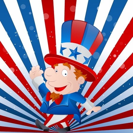 uncle: Cute Kid Uncle Sam Illustration