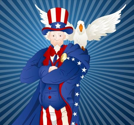 uncle sam: Uncle Sam with Bird Illustration