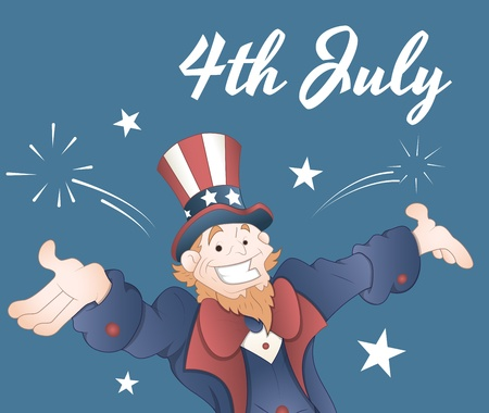The Fourth of July Greeting Card Vector