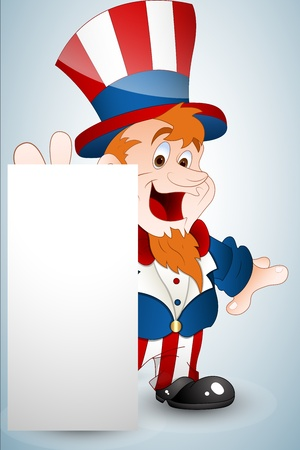 Cute Uncle Sam Banner Vector