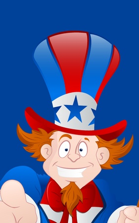 Closeup of Happy Uncle Sam Vector