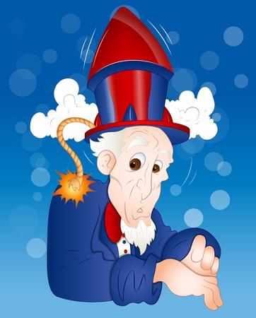 uncle sam: Illustration of Funny Uncle Sam Illustration
