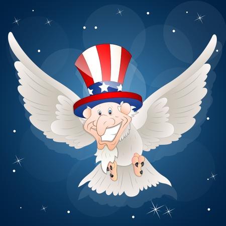 Patriotic Sam Bird Illustration Vector
