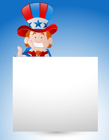 uncle sam: Uncle Sam with Paper Banner