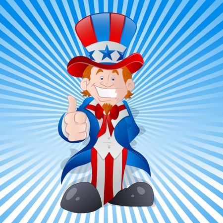 uncle sam: Happy Young Uncle Sam Vector Illustration