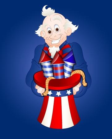 uncle sam: Uncle Sam with Fireworks Vector Illustration