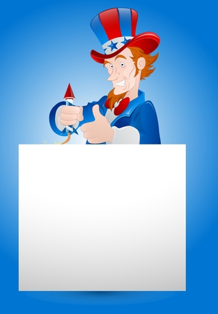 Illustration of Uncle Sam with Paper Banner Vector