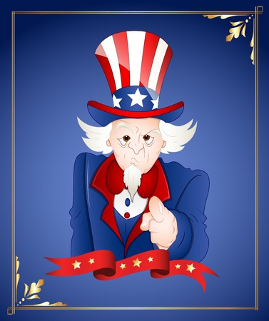 4th of July Uncle Sam Card Vector