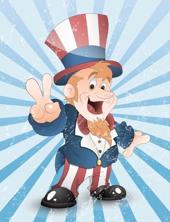 uncle sam: Happy Uncle Sam Grunge Vector Illustration