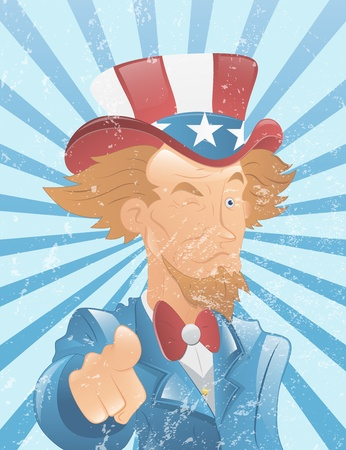 Winking Uncle Sam Vintage Art Vector