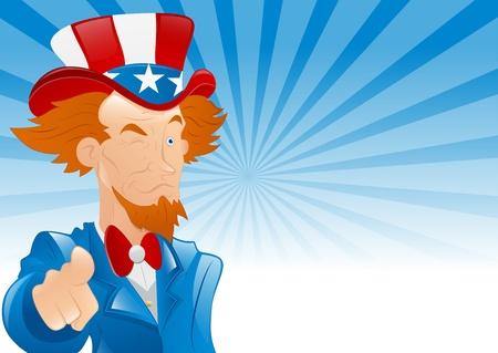 Winking Uncle Sam Retro Background Vector
