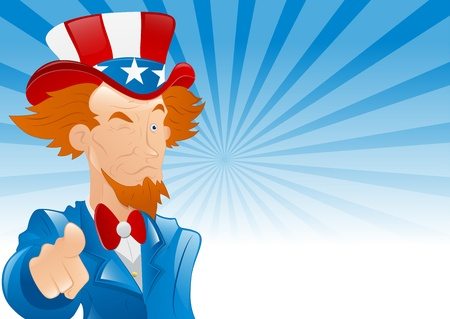 Winking Uncle Sam Retro Background Vector