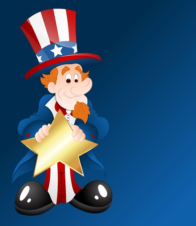 Uncle Sam with Golden Star Badge Vector