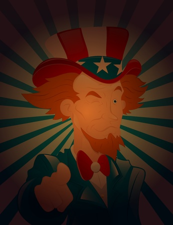Winking Eye Uncle Sam Vector