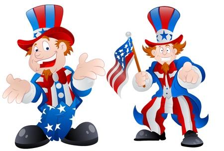 national hero: Set of Happy Uncle Sam
