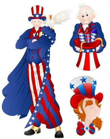 national holiday: Portrait of Uncle Sam Vector Illustration