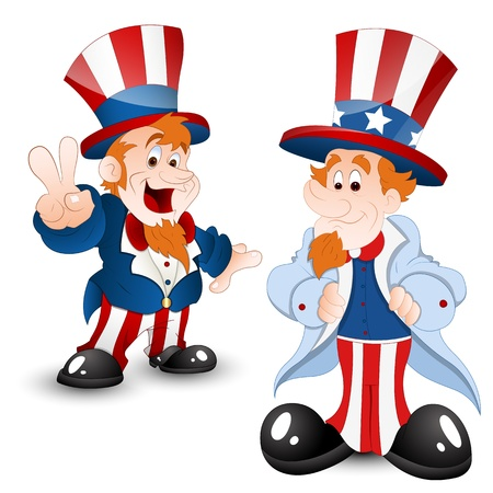 carnival costume: Set of Uncle Sam Portrait Illustration