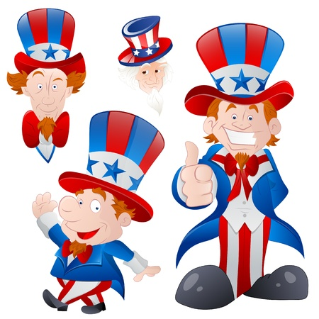 Set of Cartoon Uncle Sam Vector