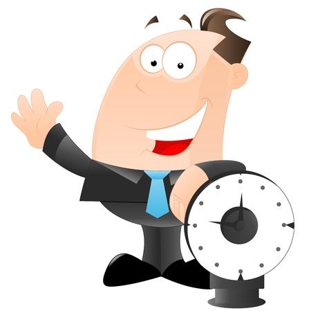 punctual: Hombre de negocios con vector de reloj Vectores