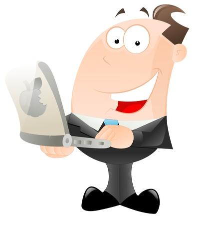 empresario: Hombre de negocios feliz con ordenador port�til