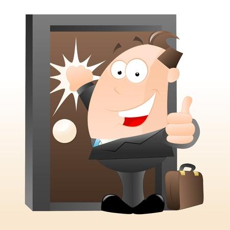 tocar la puerta: Vendedor de dibujos animados