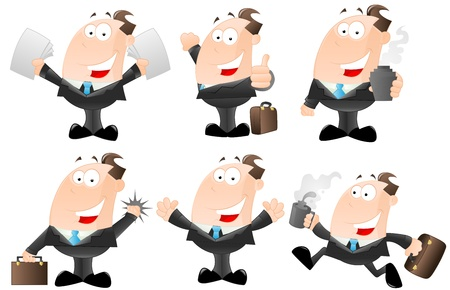 Set of Cartoon Businessmen Vector