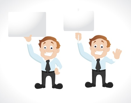 Businessman with Blank Signboard Illustration