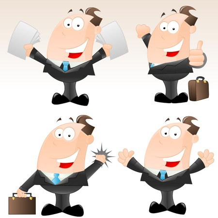 Set of Funny Cartoon Businessmen Vector