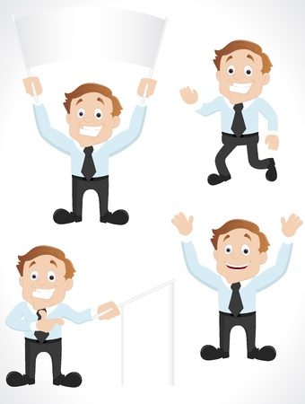 Cartoon Businessman with Banners Vector