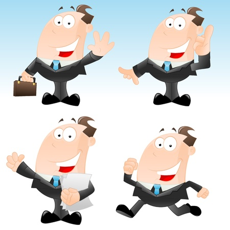 Set of Funny Businessmen Vector