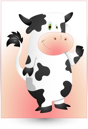 piebald: Cartoon Cow Character Illustration