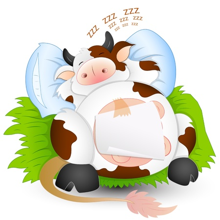 Baby Cow Sleeping Vector