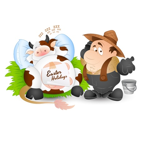 Dairy Cow with Milkman Stock Vector - 12861728