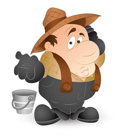 service boy: Funny Milkman Illustration