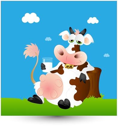 cow bells: Dairy Milk Cow Vectores