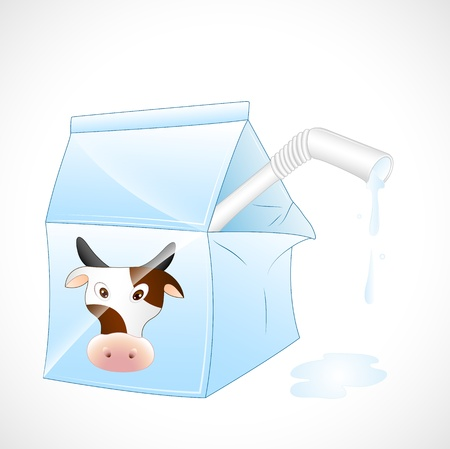 Dairy Cow Milk Pack Vector